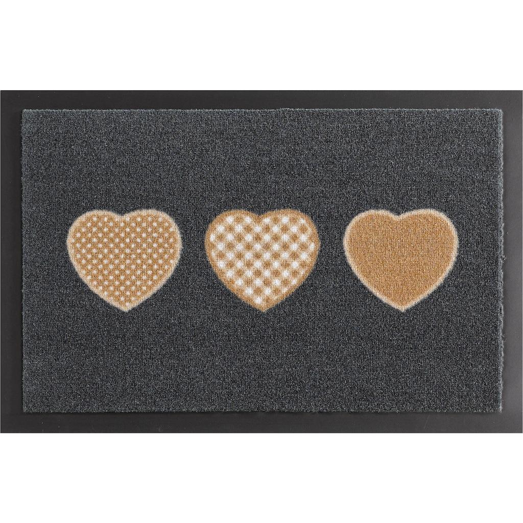 HANSE Home Fußmatte »Three Hearts«, rechteckig, 7 mm Höhe, Fussabstreifer, Fussabtreter, Schmutzfangläufer, Schmutzfangmatte, Schmutzfangteppich, Schmutzmatte, Türmatte, Türvorleger, rutschhemmend beschichtet