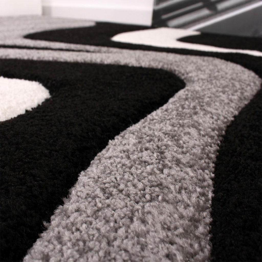 Paco Home Teppich »Diamond 760«, rechteckig, 18 mm Höhe, 3D-Design, Kurzflor mit Wellen Muster, Wohnzimmer