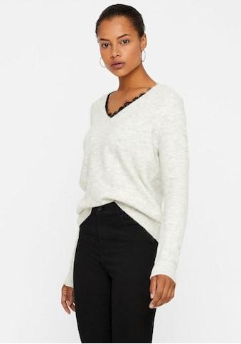 Vero Moda V-Ausschnitt-Pullover »VMIVA«, mit Spitze kaufen