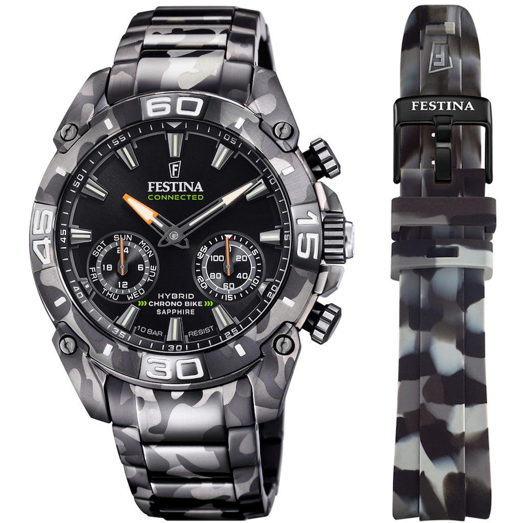 Festina Chronograph »Chrono Bike 2021 - Special Edition Connected, F20545/1«, (Set, 2 tlg., mit Wechselband)