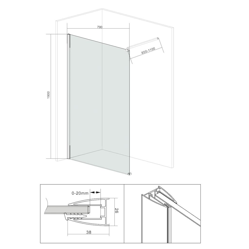 welltime Duschwand »Duschabtrennung«, Breite 80 cm, Grauglas