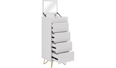 SalesFever Hochkommode, Spiegel im Klappdeckel, Kommode mit Schmuckfach, Schubladenschrank in modernen Farben kaufen