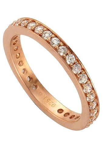 Firetti Silberring »Memoire, glanzvoll rosévergoldet, 3 mm«, mit Zirkonia kaufen