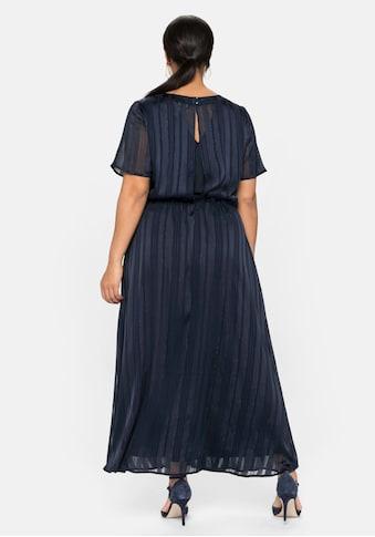 Sheego Abendkleid, mmit Streifen-Jacquard und Metallic-Effekt kaufen
