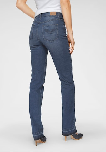 Arizona Gerade Jeans »Comfort-Fit«, High Waist - mit Fransensaum kaufen