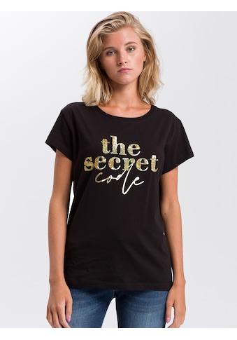 Cross Jeans® T-Shirt »55725«, Glanzvoller Schriftzug kaufen