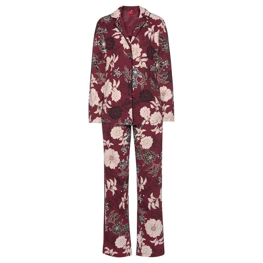 s.Oliver Bodywear Pyjama, in klassischer Form mit Blumenmuster