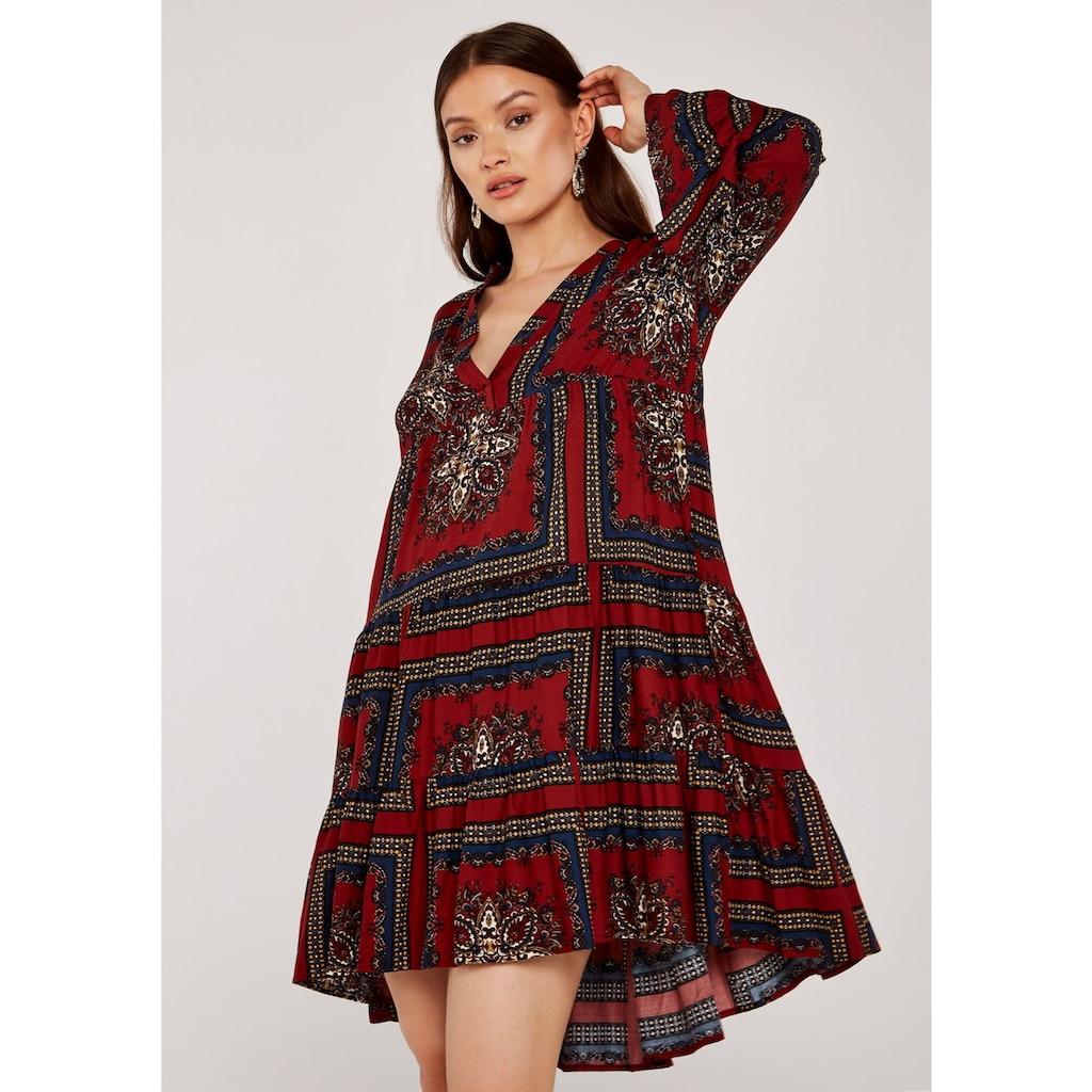 Apricot Druckkleid »Scarf Print Tiered Dress«, mit V-Ausschnitt