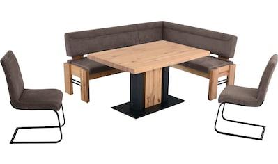 K+W Komfort & Wohnen Eckbankgruppe »Floyd«, (Set, 5 tlg.), Stauraum-Eckbank, wahlweise rechts oder links langer Schenkel 203cm, 3 Freischwinger und Tisch in Massivholz mit Roheisen, Breite 140cm kaufen