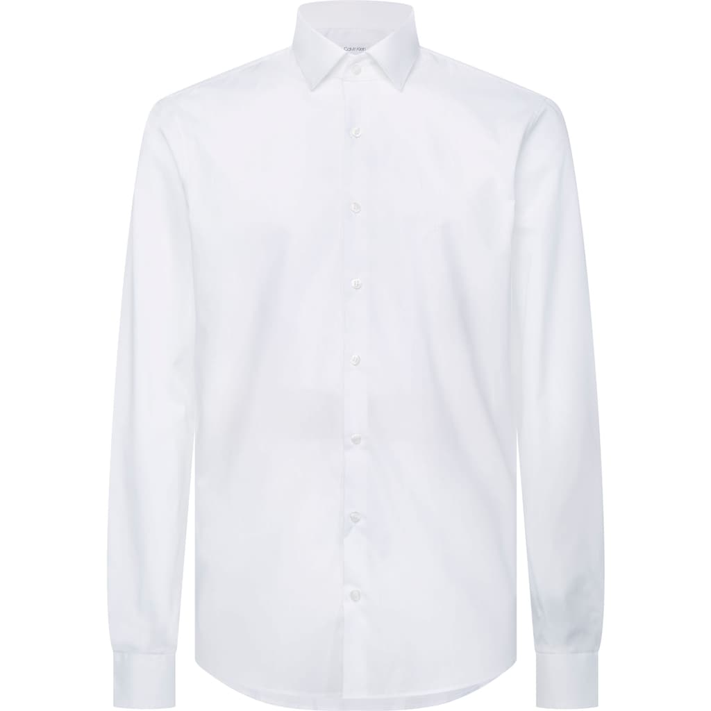 Calvin Klein Businesshemd »2PLY POPLIN STRETCH SLIM SHIRT«, unifarben