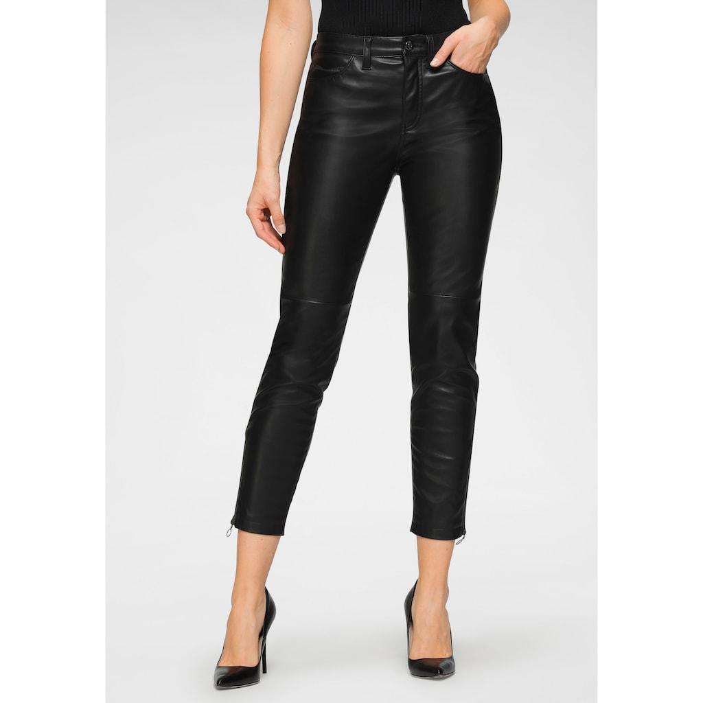 MAC Ankle-Jeans »Slim Leather«, In elastischem Lederimitat mit typischer Beinnaht