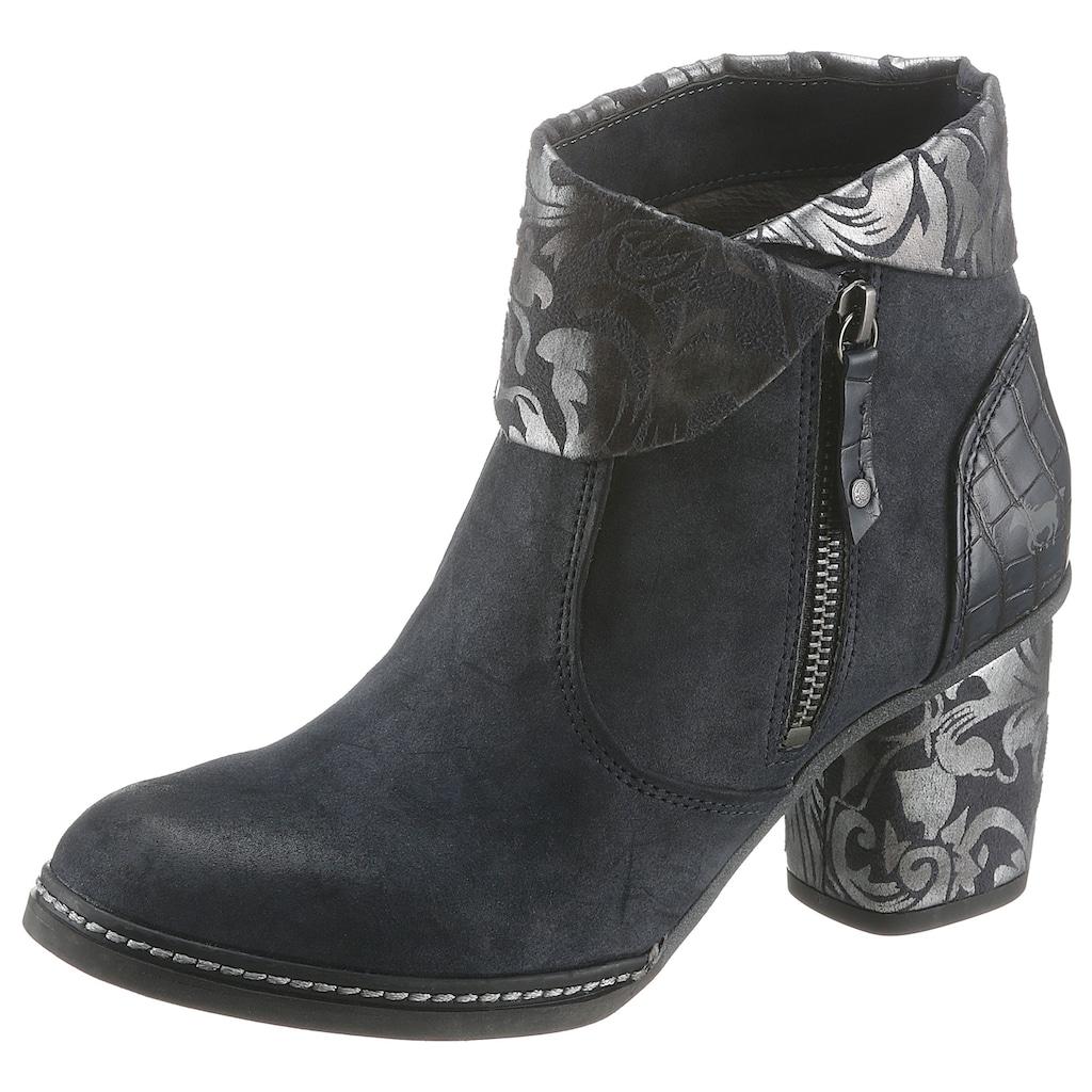 Mustang Shoes Stiefelette, mit Kroko-Prägnung an der Ferse