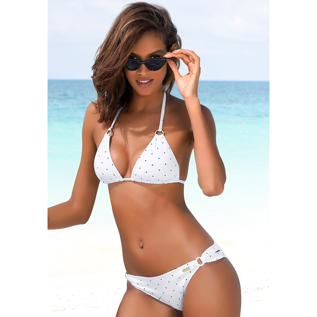 LASCANA Triangel-Bikini-Top »Sparkel«, mit goldfarbenen Ringen