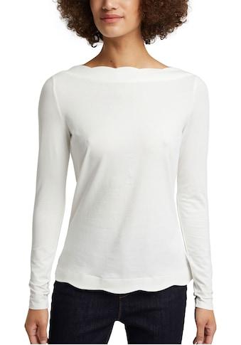 Esprit Collection Langarmshirt, mit toller Wellenkante am Ausschnitt und am Saum kaufen