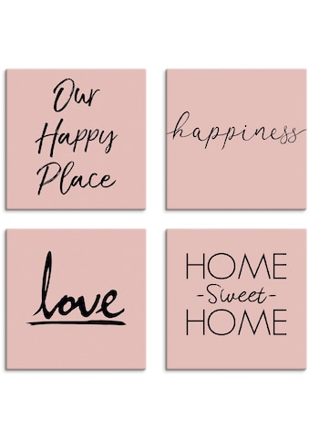 Artland Leinwandbild »Ort Glück Liebe Home sweet Home«, Sprüche & Texte, (4 St.) kaufen