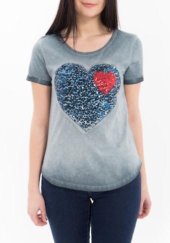 Way of Glory T-Shirt, mit Pailletten Applikation, oil wash kaufen