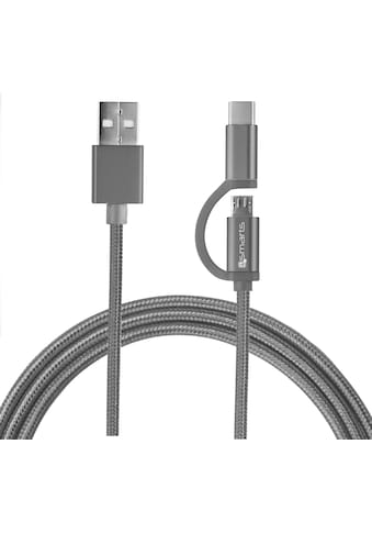 4smarts USB-Kabel »Micro-USB & USB-C Kabel ComboCord 2m, Textil«, USB-C, Micro-USB,... kaufen