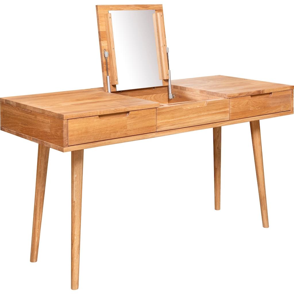andas Schminktisch »Scandi«, aus massivem Eichenholz, mit aufklappbarem Spiegel, Breite 140 cm