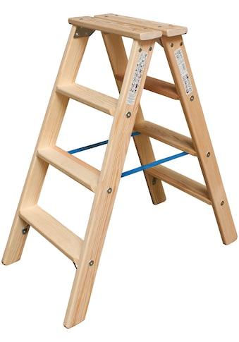 KRAUSE Doppelleiter »STABILO«, Holz, 2x4 Stufen, Arbeitshöhe ca. 245 cm kaufen