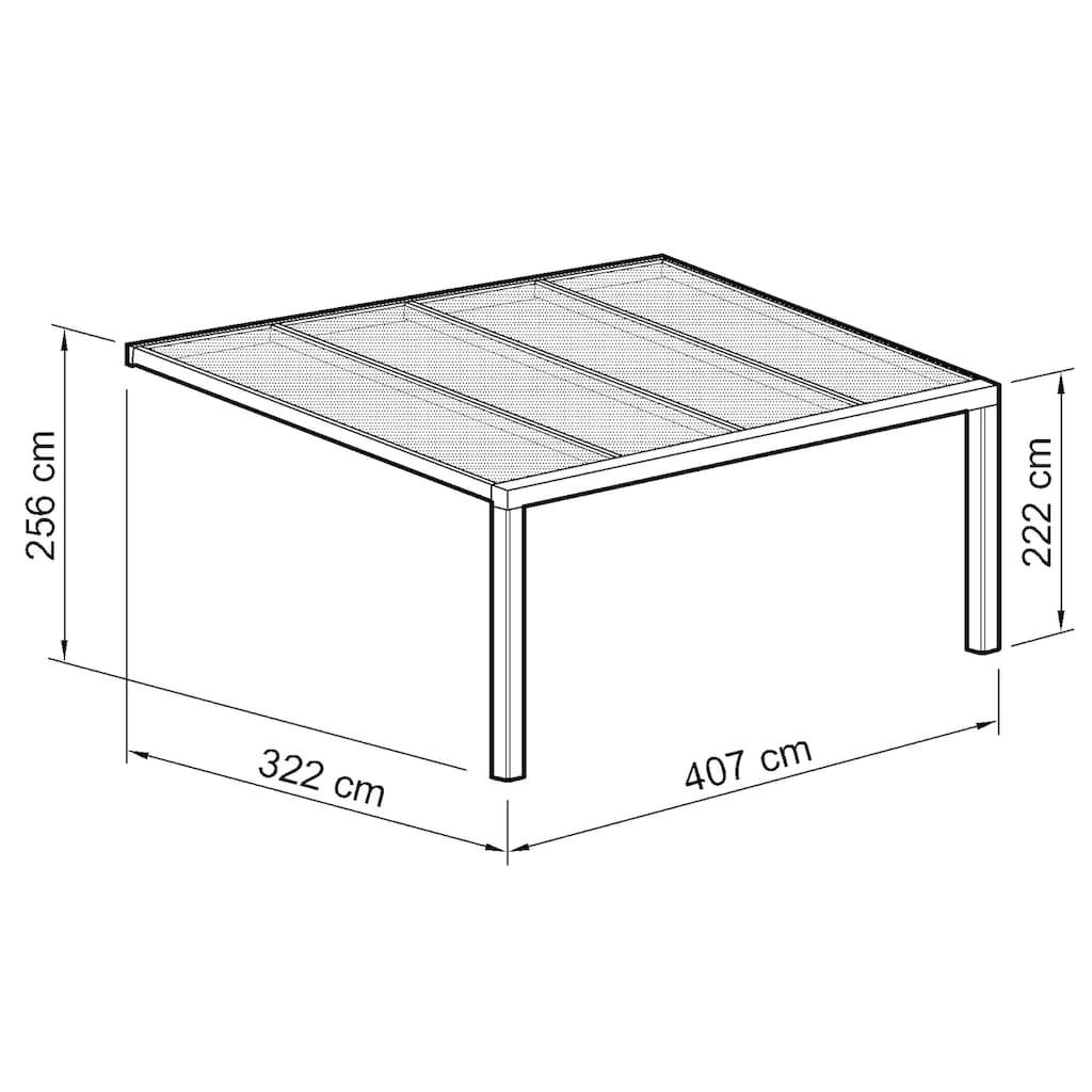 Beckmann Terrassendach »Exklusiv 5«, BxT: 407x322 cm, mit Regenrinne