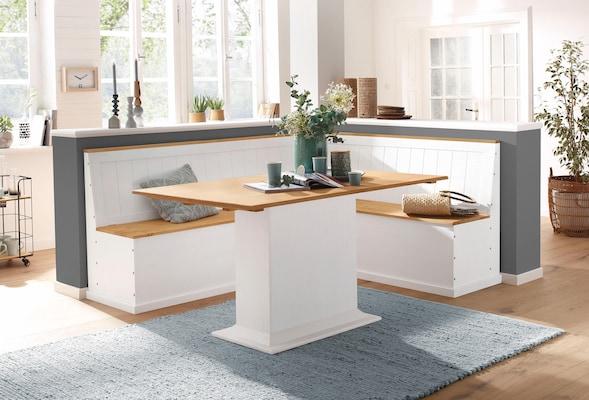 weiße Essbank aus Holz