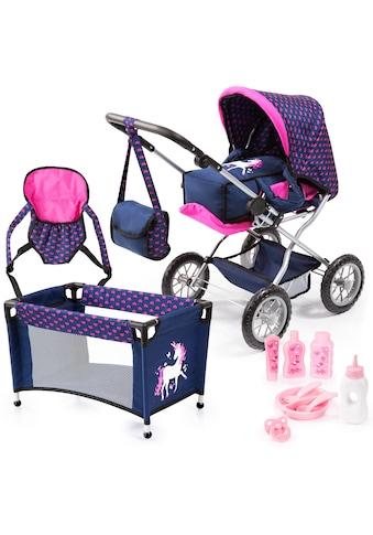 Bayer Kombi-Puppenwagen »Grande, Blau/Pink«, mit Reisebett, Flasche, Tragegurt,... kaufen