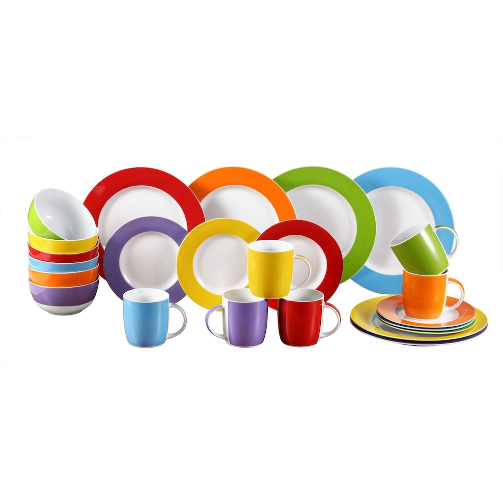 Retsch Arzberg Kombiservice »Colour Band«, (Set, 24 tlg.), Mix & Match Design