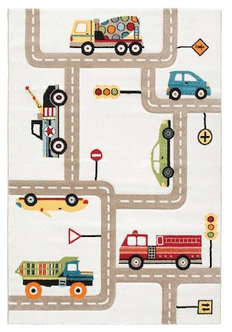 Lüttenhütt Kinderteppich »Strassen«, rechteckig, 13 mm Höhe, handgearbeiteter Konturenschnitt, Straßen-Spielteppich kaufen