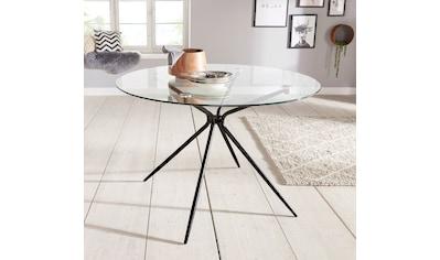 Glastisch »Silvi«, rund, Ø 110 cm, schwarzes Metallgestell kaufen