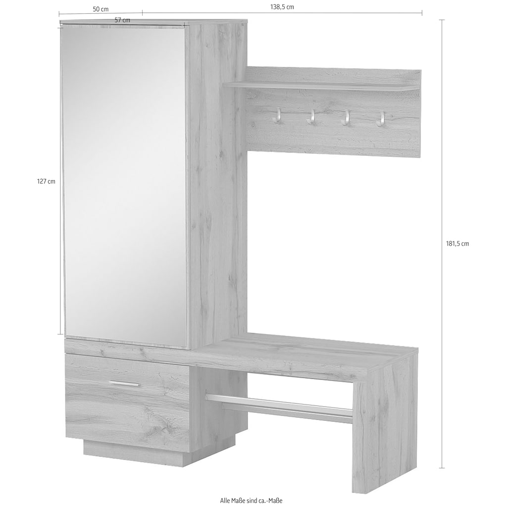 my home Kompaktgarderobe »Megapolis«, Maße (B/T/H) 138,5/50/181,5cm