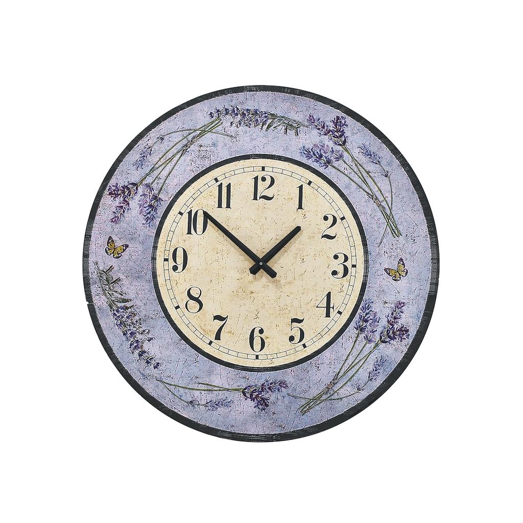 Wanduhr mit dekorativem Lavendel-Motiv