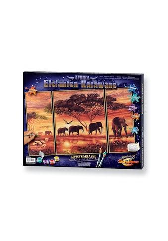 Schipper Malen nach Zahlen »Triptychon - Elefanten Karawane«, Made in Germany kaufen