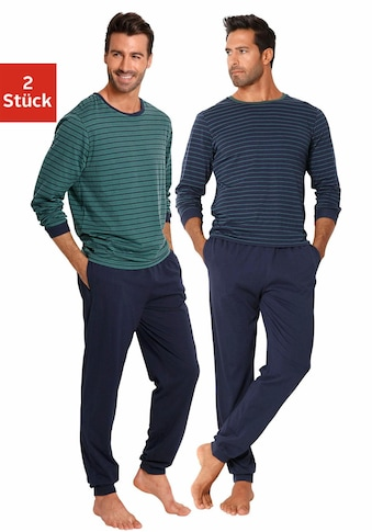 le jogger® Pyjama, (2 Stück), lang im Streifendesign kaufen