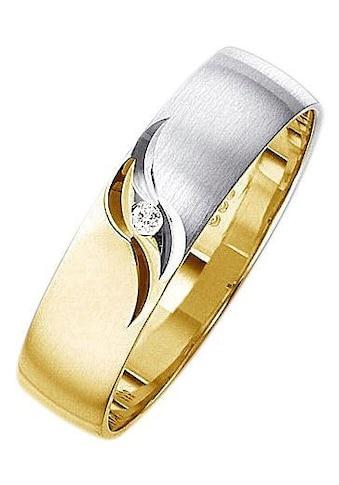 Firetti Trauring mit Gravur »matt, glanz, mit Diamantschnitt, bicolor, 5,0 mm breit«, wahlweise mit oder ohne Brillant kaufen