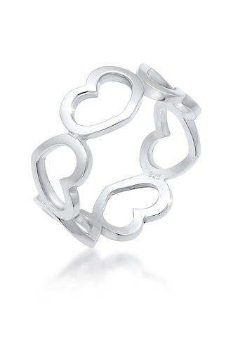 Elli Fingerring »Bandring Herzen Symbol Cut - Out Trend 925er Silber« kaufen