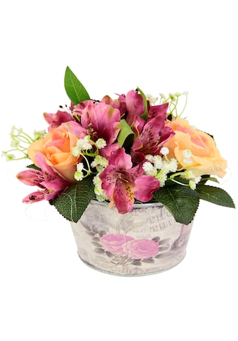 I.GE.A. Kunstpflanze »Gesteck Rosen in Zinktopf« kaufen