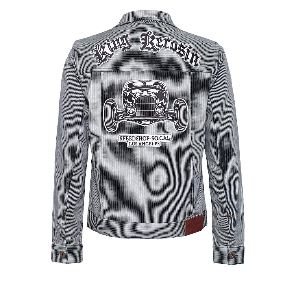 KingKerosin Jeansjacke »Speedshop SoCal«, in Streifen-Optik mit Stickerei