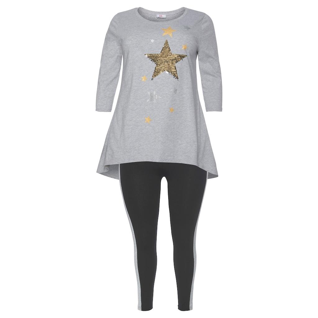Flashlights Vokuhila-Shirt »Glitzer Sterne«, Mit Glitzereffekten