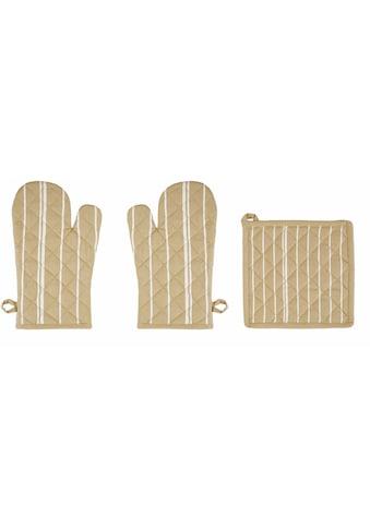 stuco Topfhandschuhe »Streifen«, (Set, 3 tlg., bestehend aus 2x Ofenhandschuh, 1x... kaufen
