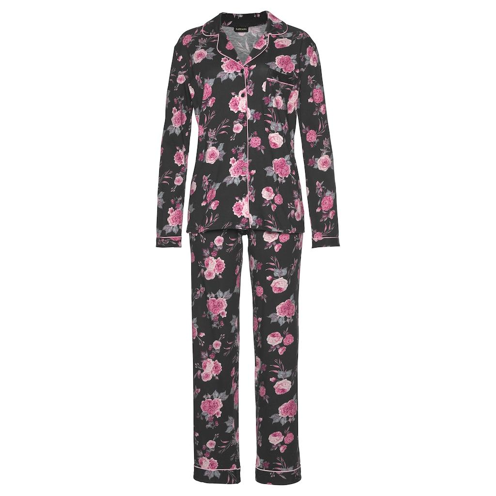 LASCANA Pyjama, in klassischer Form mit Knopfleiste