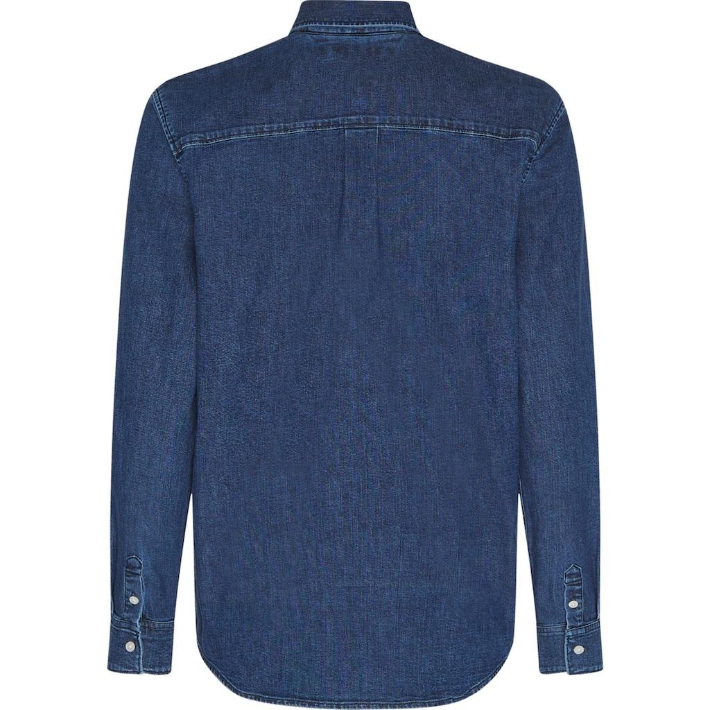 TOMMY HILFIGER Jeansbluse »RELAXED LS SHIRT MAO«, mit Tommy Hilfiger-Stickerei am Ärmel