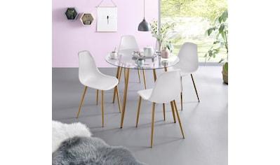 my home Essgruppe »Miller«, (Set, 5 tlg.), Glastisch mit 4 Stühlen (Kunststoffschale) kaufen