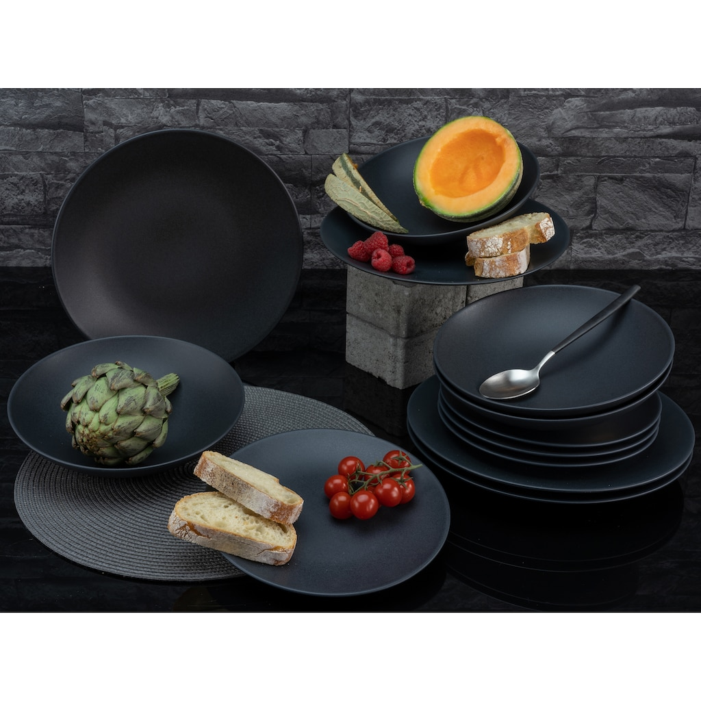 CreaTable Tafelservice »Soft Touch Black«, (Set, 12 tlg.), seidenmatte Glasur