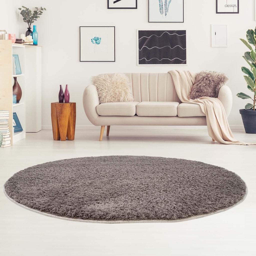 Carpet City Hochflor-Teppich »Softshine 2236«, rund, 30 mm Höhe, besonders weich durch Microfaser, Wohnzimmer