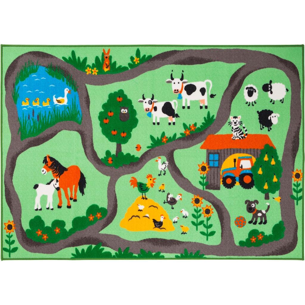 Andiamo Kinderteppich »Bauernhof«, rechteckig, 6 mm Höhe, Kurzflor, Straßen-Spielteppich