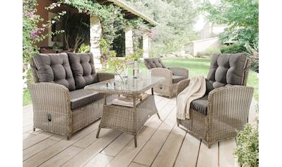 Destiny Loungeset »Merano II«, (11 tlg.), 2 Sessel, 2er-Sofa, Tisch, Polyrattan kaufen