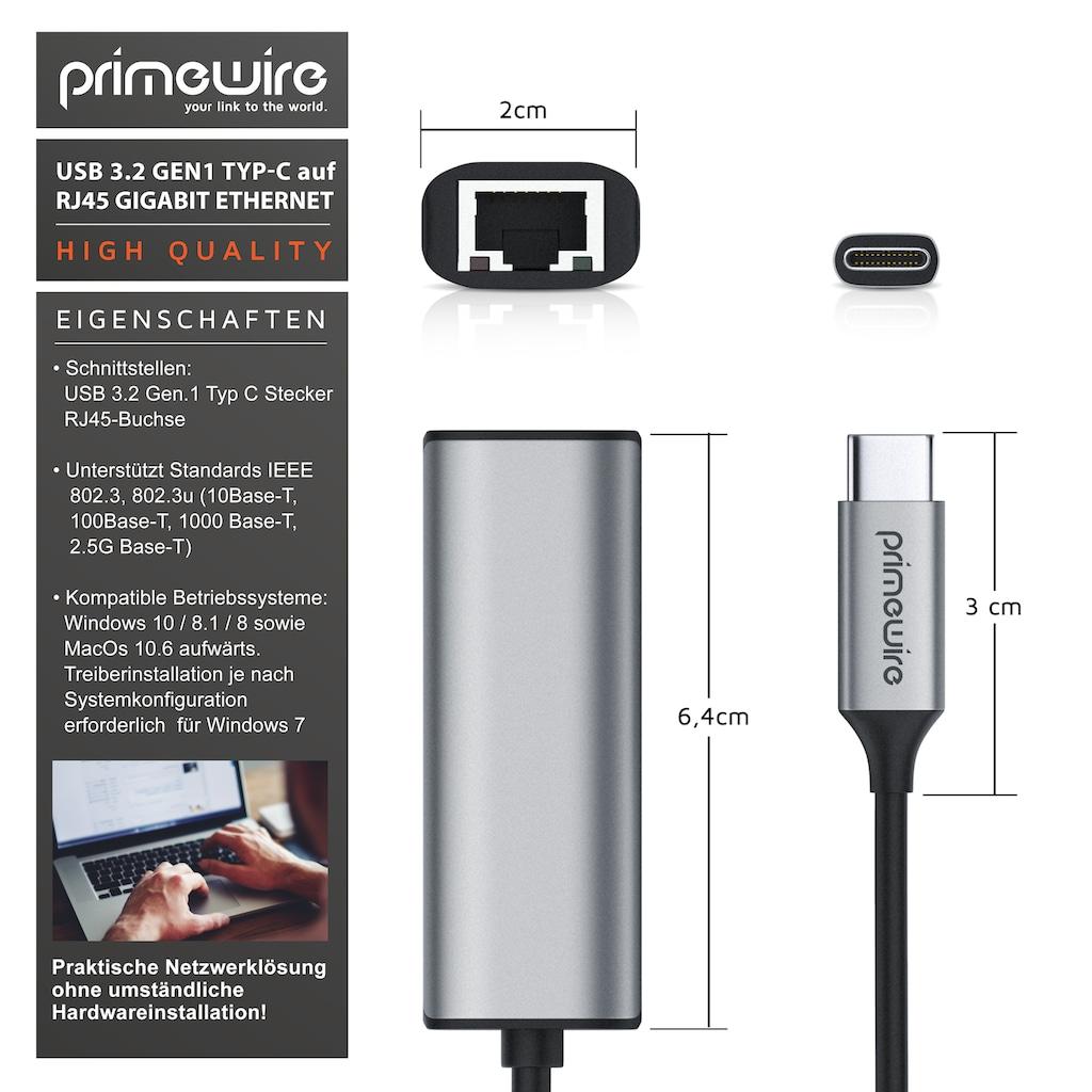 Primewire Netzwerk-Adapter »LAN Adapter mit USB Typ C«, USB Typ C zu RJ-45 (Ethernet), 15 cm, USB 3.2 Typ C auf RJ45 Buchse